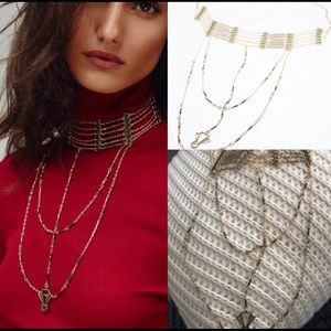 Free People lotus layer rosary choker necklace